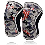 Knee Sleeves (1 Pair), 7mm Thick Compression Knee Braces Offer Perfect Support for Squats Weightlifting,Powerlifting,Crossfit,Cross Training WOD for Men & Women (Large, Grey Camo+) (Color: Grey Camo+, Tamaño: Large)