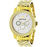 Yellow Gold Tone Watches: LUXURMAN Mens Diamond Watch 0.25ct (Color: Steel)