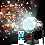 Christmas Projector Lights Outdoor, LED Snowfall Lights Xmas Snowflake Projector Lamp with Remote Control IP65 Waterproof for Christmas, Thanksgiving, New Year, Party, Garden, Patio, Yard Decoration (Color: Black)