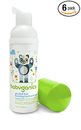 Babyganics Alcohol-Free Foaming Hand Sanitizer, Fragrance Free, On-The-Go, 50 ml (1.69-Ounce), Pump Bottle (Pack of 6)