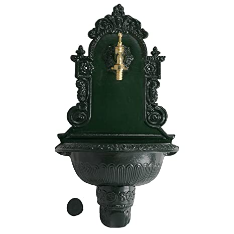 Fontana da parete verde ghisa antico giardino Fontane Decorative, decorazione 75cm