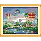 Happy Forever Cross Stitch Kits 11CT Stamped Patterns for Kids and Adults, Preprinted Embroidery kit for Beginner, Scenery View and Landscape (F139 Colorful Balloons, Size 26''x21'') (Color: F139 Colorful Balloons, Size 26''x21'')