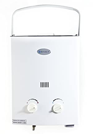Marey GA5PORT Portable Propane Gas Tankless Water Heater, Small, White (Color: White, Tamaño: Small)