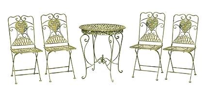 Gartentisch und 4 Stuhle Eisen antik Stil Gartenmöbel in hellem creme grun iron