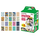 Fujifilm instax Mini Instant Film (20 Exposures) + 20 Sticker Frames for Fuji Instax Prints Travel Package (Tamaño: 20 Exposures)
