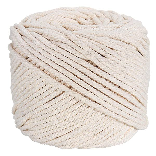 100/% Natual Cotton Macrame Rope 3 Strand Twisted Cotton Cord for Handmade Plant Hanger Wall Hanging Craft Making Macrame Cord 4mm x 240yd