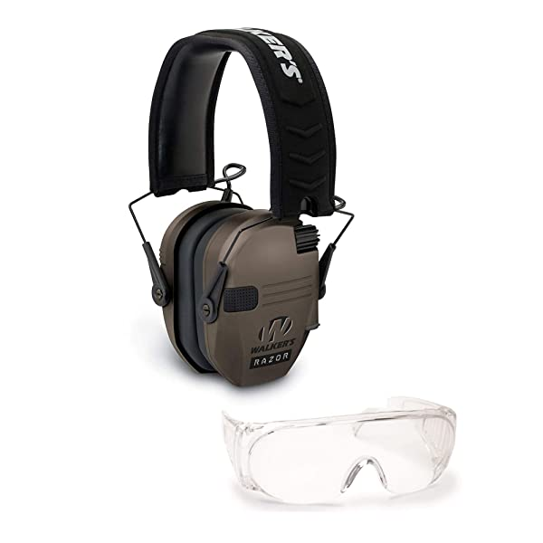 Walkers Razor Slim Electronic Hearing Protection Muffs (Sound Amplification and Suppression) and Over-The-Glasses Protective Eyewear Kit, FDE Flat Dark Earth (Color: FDE Flat Dark Earth Tan)