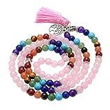 Top Plaza 7 Chakra Buddha Mala Prayer Beads 108 Meditation Healing Multilayer Bracelet/Necklace W/Tree of Life Tassel Charm (Rose Quartz) (Color: 6mm beads - Rose Quartz)