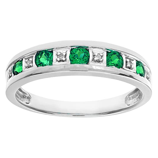 Naava Round Brilliant Emerald and Diamonds 9ct Eternity Ring
