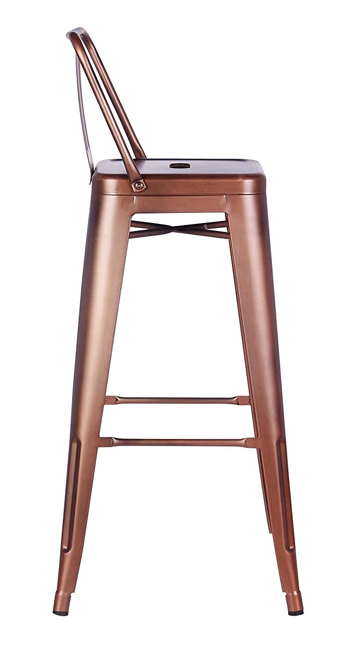AC Pacific Modern Industrial Metal Barstool with Bucket Back and 4 Leg Design, 30