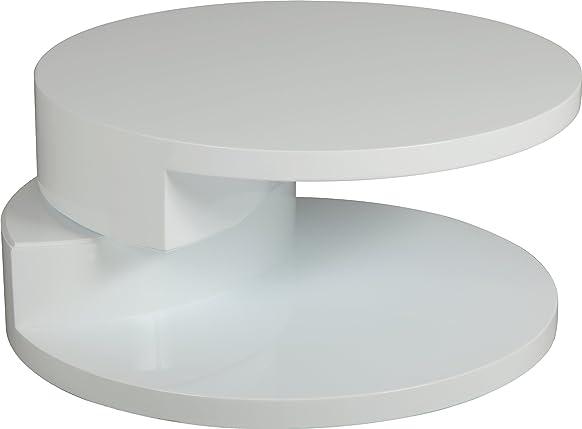 Tavolino rotonda articolata laccata bianco