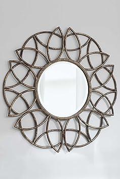 Large Round Stylish Bronze Finish Wall Mirror 3ft (90.5cm)
