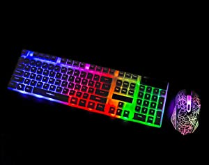 378a7b5befe CHONCHOW Gaming Wired Backlit Keyboard and Mouse Combo Led Illuminated  Letter 19 Anti-Ghost Keys White ...