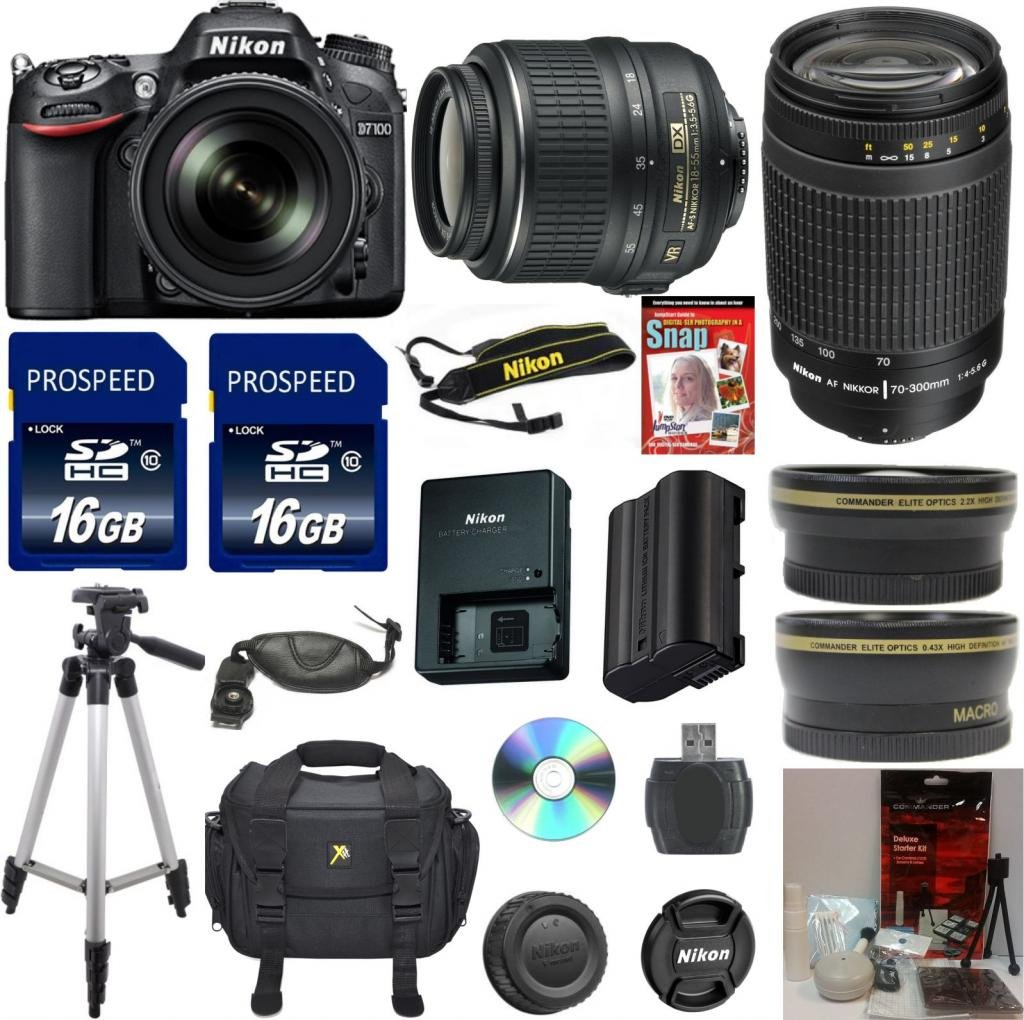 Nikon D7100 Digital SLR Camera Body 33rd Street Exclusive Bundle with 18-55mm VR Standard Zoom Lens + Nikon 70-300mm G Zoom Lens  ..