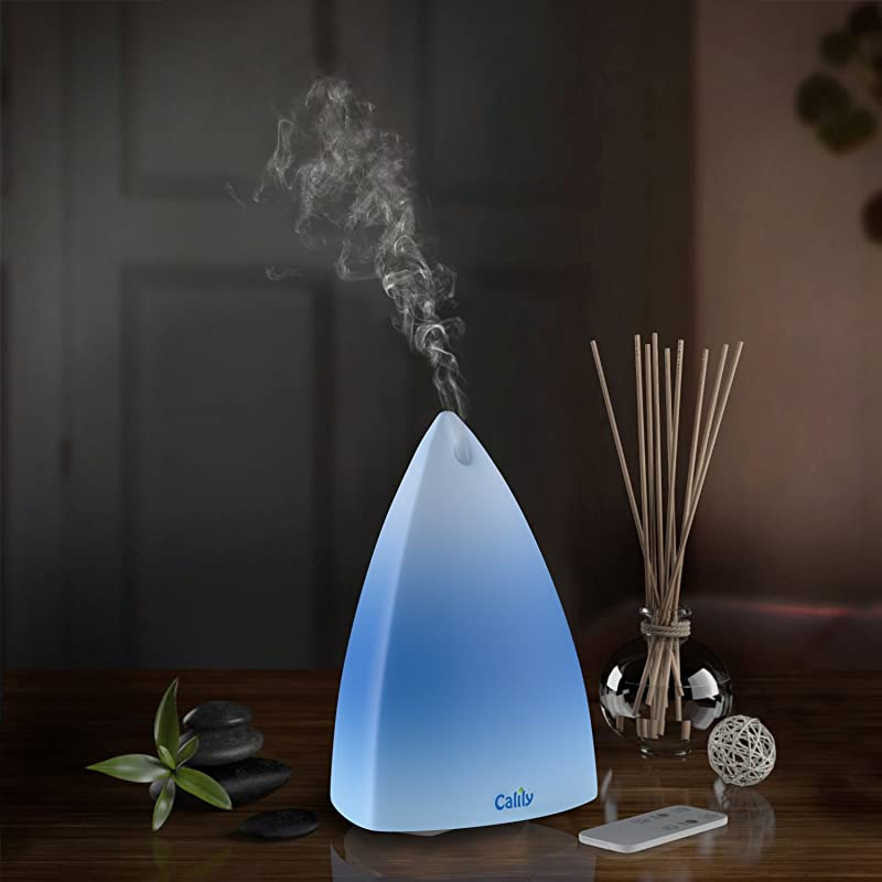 Calily Ultrasonic Essential Oil Diffuser Aromatherapy with Remote Control, Relaxing & Soothing Multi-Color LED Light via Amazon