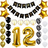 Happy 12th Birthday Banner Balloons Set for 12 Years Old Birthday Party Decoration Supplies Gold Black (Color: 12th, Tamaño: 25)