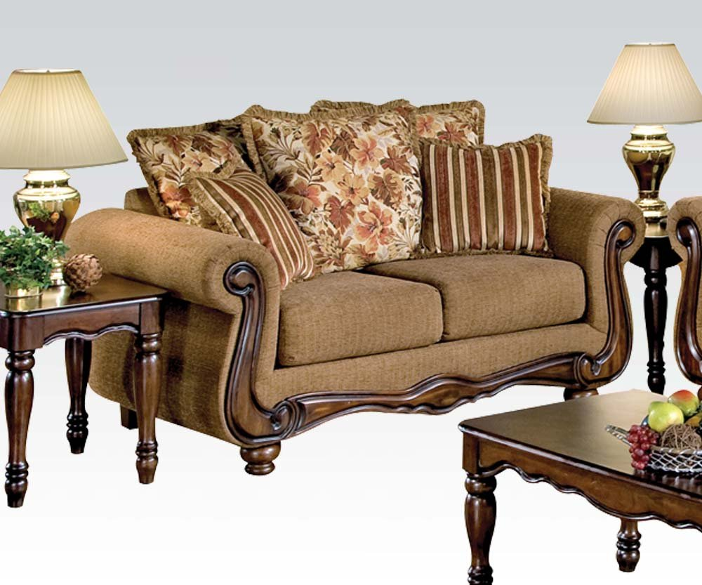 ACME 50311 Olysseus Loveseat with Floral Design - Brown