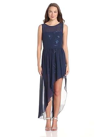 BCBGMAXAZRIA Women's Katrine Sequin and Chiffon Asymetrical Evening Gown, Dark Ink Combo, 4