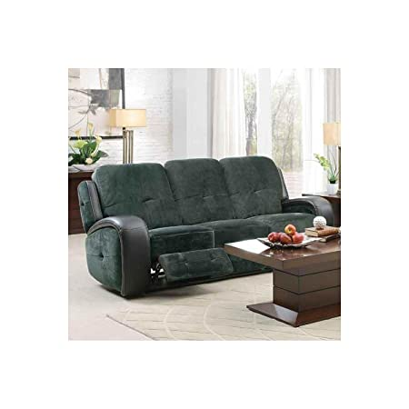 Flatbush Double Reclining Sofa In Plush Microfiber Black Vinyl by Homelegance