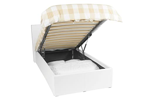 Luna Ottoman | Cama con almacenaje | 90x190 | Blanco | 430 liter espacio de almacenamiento