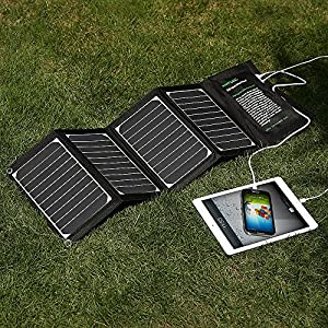Poweradd 20W Dual USB Port Solar Charger for Apple iPhone 7s Plus 7 6s 6, iPad, iPod, Android, Samsung, HTC, LG, Nexus, Gopro, MP3 Players, External Batteries and More by poweradd