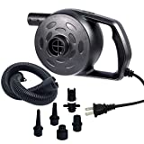 chamvis Electric Air Pump for Inflatables High Power Quick-Fill Air Mattress Pump Inflator Deflator Portable for Raft Bed Boat Pool Toy Exercise Ball Balloons with Nozzles, AC 110-120V, 1.2 PSI (Color: Ac Black, Tamaño: AC plug)