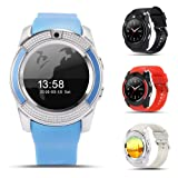 V8 Bluetooth Smart Watch, Sports Bracelet SIM GSM Card Smart Watch Health Clock Fitness Pedometer for Android(Black) (Color: black)