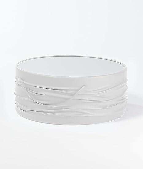 Couchtisch Sofatisch Beistelltisch Kunstleder Glasplatte weiß schwarz rund Tisch (Couchtisch 80 cm weiss ST1012W)