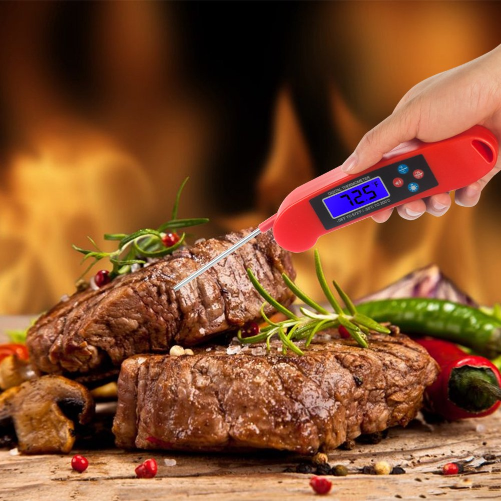 Instant Read Meat Thermometer with Probe, Backlight and Talking Function - Accurate Digital Food Thermometer for Grill, Baking, Cooking and More (Red)