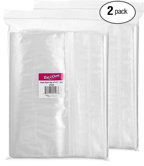 10x13-2 mil 100 Pack Clear Plastic Reclosable Single Zipper Poly Bag