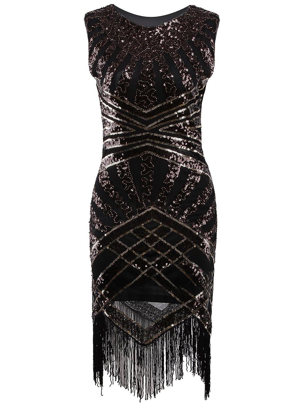 Vijiv Vintage 1920s Embellished Art Nouveau Fringe Sequin Beaded Flapper Dress 1