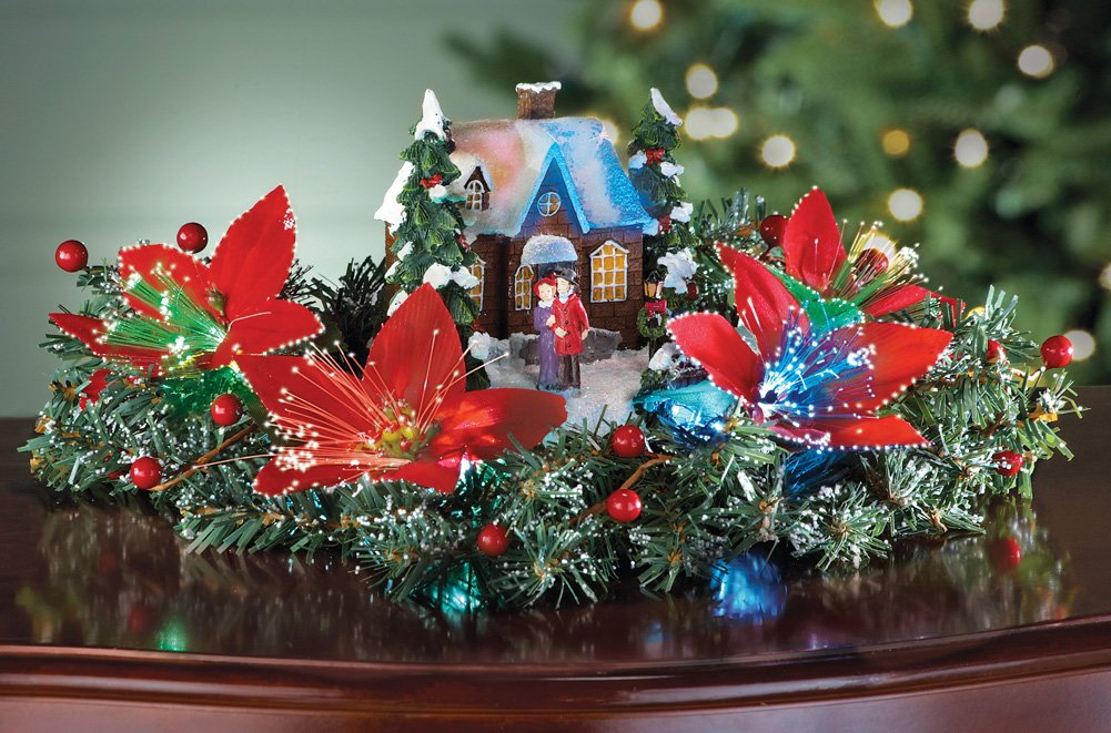 Holiday Home Fiber Optic Poinsettia Centerpiece