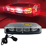 High Intensity Law Enforcement Emergency Hazard Warning LED Mini Bar Strobe Light with Magnetic Base 12V-24V (Red & White & Red & White) (Color: Red & White & Red & White)