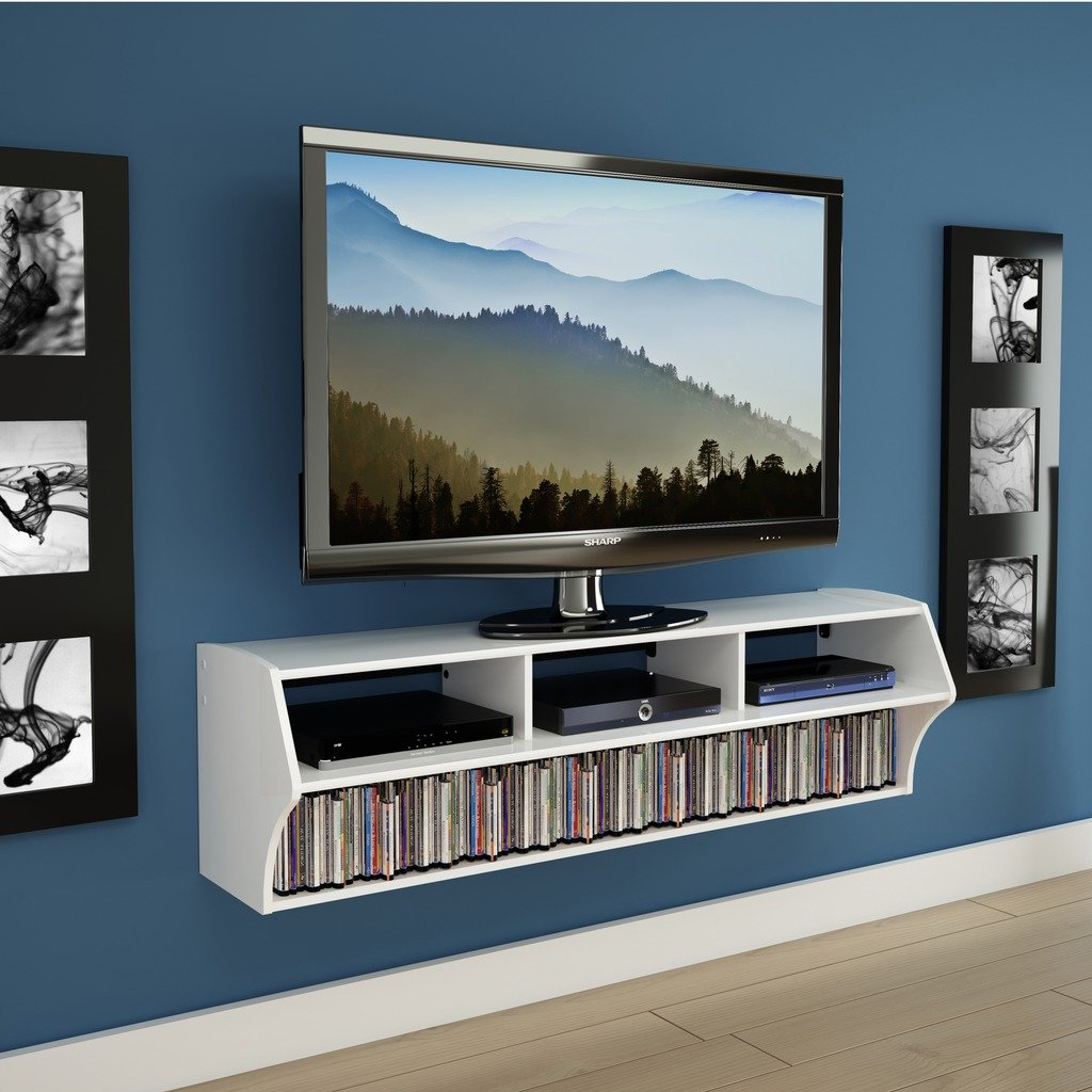 "Prepac Altus Plus 58"" Floating TV Stand, White"