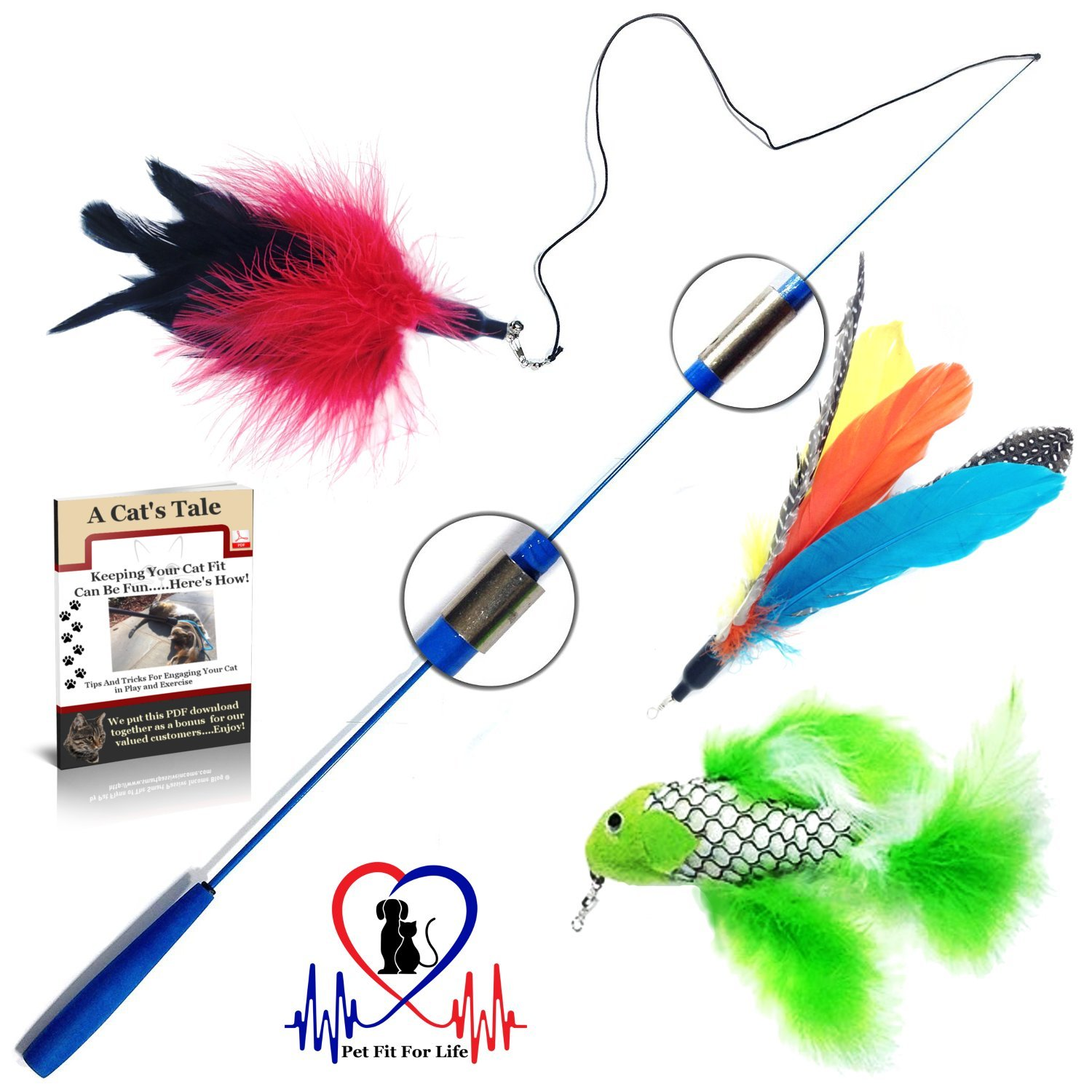 Pet Fit For Life Retractable Wand with 2 Feathers and 1 Soft Furry Combo For Your Cat and Kitten - Cat Toy Interactive Cat Wand