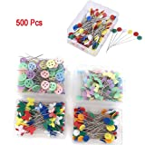 500 Pcs Flat Button &Flower Head Pins,Straight Pins, Quilting Pins with Cases
