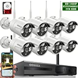 ?2018 update?OOSSXX 8-Channel HD 1080P Wireless System/IP Security Camera System 8Pcs 1080P 2.0 Megapixel Wireless Indoor/Outdoor IR Bullet IP Cameras,P2P,App, HDMI Cord & 2TB HDD Pre-install