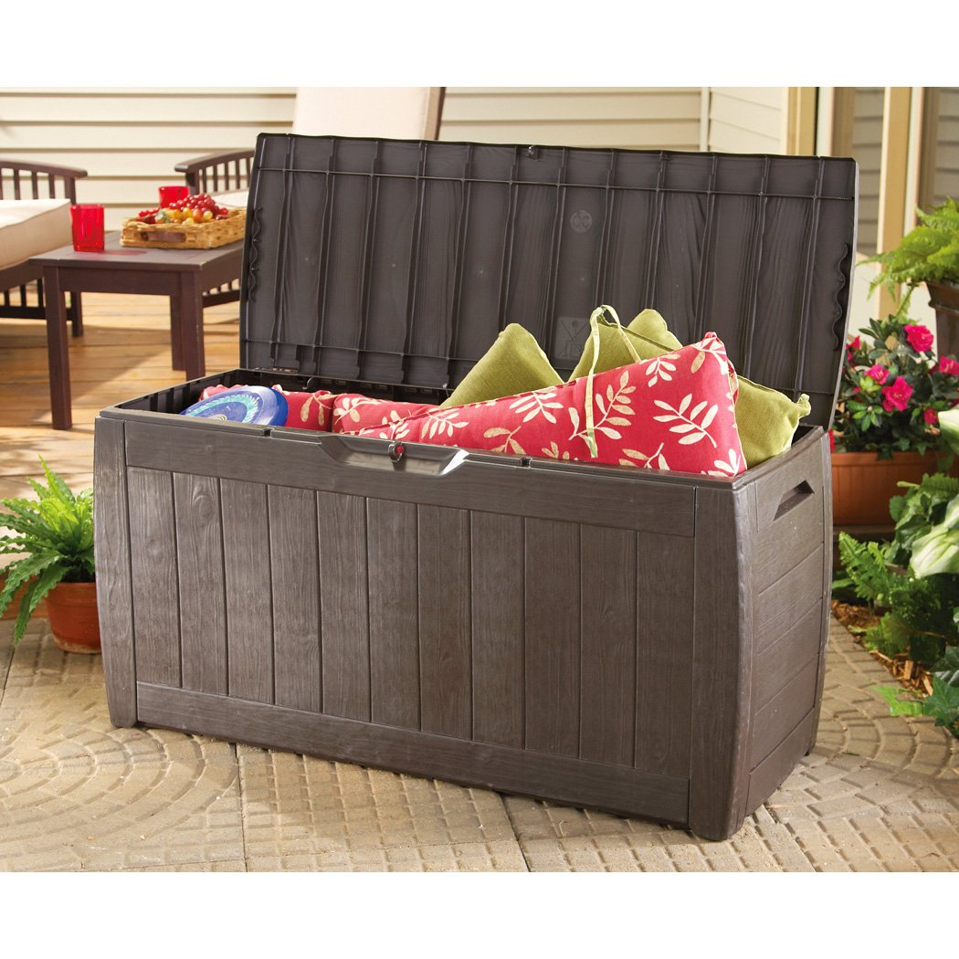 the 71 gallon outdoor deck box brown available at low price