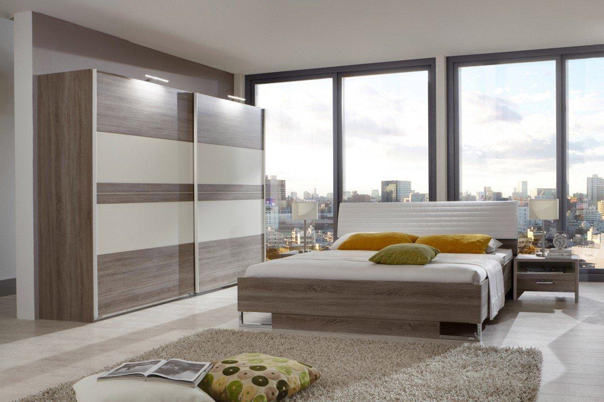 Dreams4Home Schlafzimmerkombination 'Kreta', Schlafzimmer, Bettgestell, Bettrahmen, Nachtschrank, Schwebetürenschrank, Liegefläche:180×200 cm günstig online kaufen