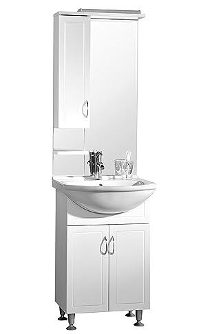 Premier Housewares Aspen Set da Bagno Sotto Lavabo Dotato di Armadietto, Ceramic, Bianco, 55x43x202 cm