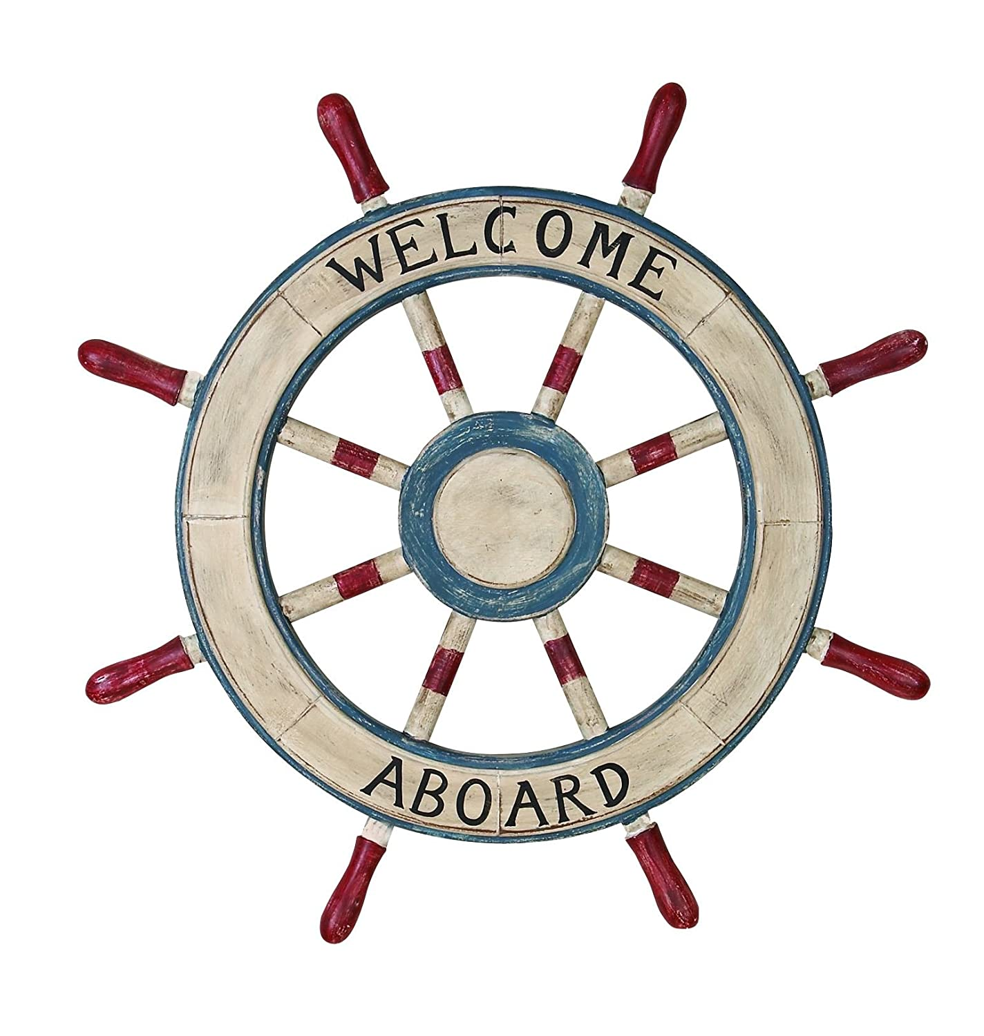 Welcome aboard boat ships life ring clock - Painted Ships Wheel 23 Nautical Wooden Captain Boat