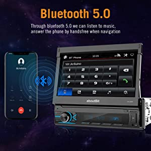 Single Din Retractable Car Stereo MP5 Player,aboutBit 7 inch Retractable Touch Screen and Rear View Camera Support USB Port Bluetooth AUX FM/AM Radio (Color: Black)