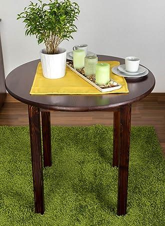 Tisch Kiefer Vollholz Nussfarben 003 - Höhe 75 cm Durchmesser 80 cm (H x Ø)