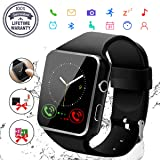 Smart Watch,Bluetooth Smartwatch Touch Screen Wrist Watch with Camera/SIM Card Slot,Waterproof Phone Smart Watch Sports Fitness Tracker Compatible Android Phone iOS Phones for Men Women Kids (Black) (Color: Black)