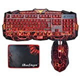 Gaming keyboard and Mouse Combo BlueFinger USB Wired Keyboard 3 Color Blue/Red/Purple LED Backlit Crack Keyboard and Mouse Set for Gamer Office