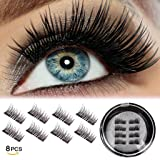 Half Eye Magnetic Eyelashes Ultra Thin No Glue Reusable Magnet Eyelases False Fake Eye Lashes Natural Looking 1 pair (8in1)