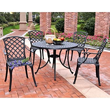 Crosley Furniture Sedona 42-Inch Five Piece Cast Aluminum Outdoor Dining Set with High Back Arm Chairs in Black Finish