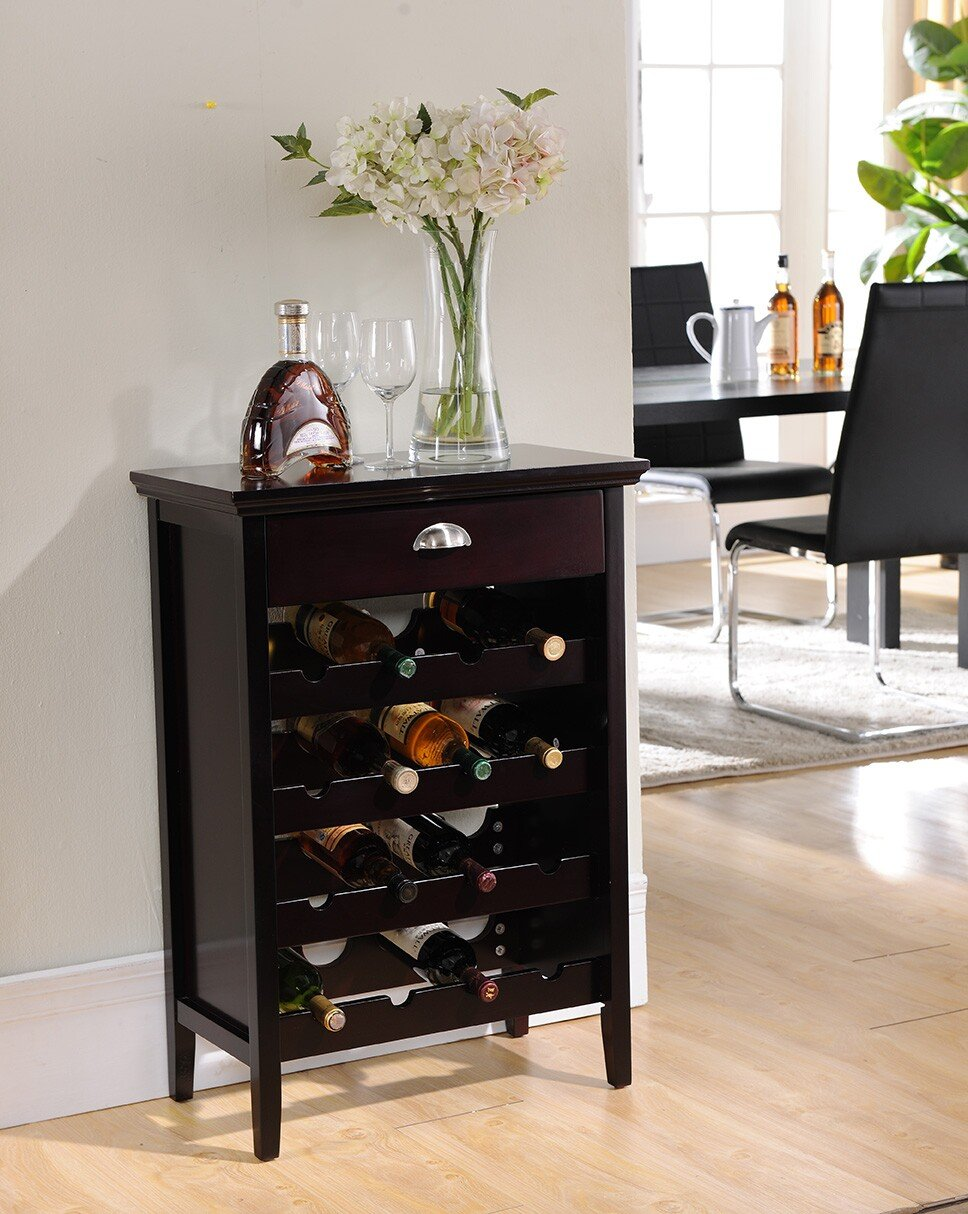 Kings Brand Dark Cherry Finish Wood Buffet Wine Rack Cabinet with Drawer hot sale european style resin phoenix wine rack high end home accessories bar wine rack wholesale