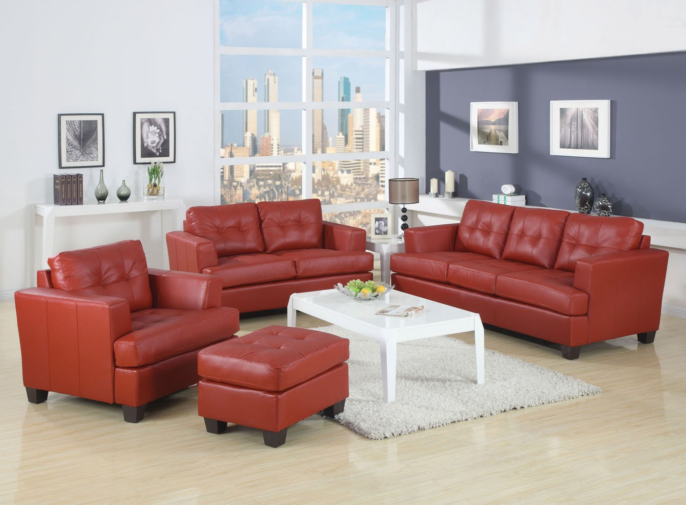 Acme 15101B Diamond Bonded Leather Loveseat with Wood Leg - Red