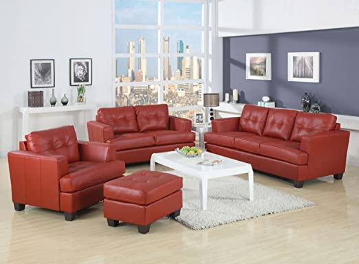 Acme 15101B Diamond Bonded Leather Loveseat with Wood Leg, Red